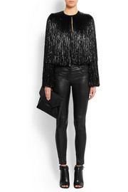 Givenchy Fringed jacket in black silk-satin