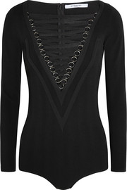 Lace-up stretch-jersey bodysuit in black