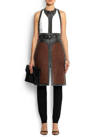 Backless studded vest in leather and nubuck
