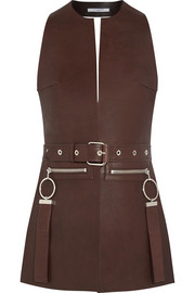 Vest in brown leather
