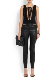 Givenchy Lace-up stretch-jersey bodysuit in black