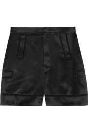 Shorts with cutout detail in black silk-satin