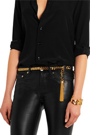Leather and chain belt