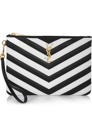 Monogramme chevron-appliquéd leather pouch