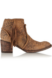 Mexicana Adela leopard-print washed-suede ankle boots