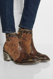 Shanghai distressed leather and suede ankle boots