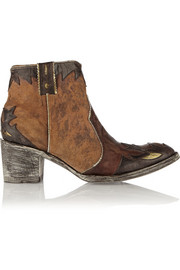 Mexicana Shanghai distressed leather and suede ankle boots