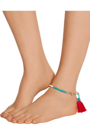 Sioux gold-plated, turquoise, coral and bamboo anklet