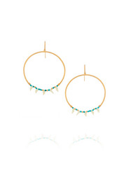 Gold-plated, turquoise and resin earrings