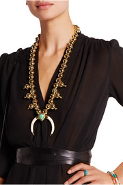 Gold-plated, turquoise and faux horn necklace