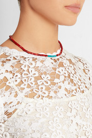 Gold-plated, turquoise, coral, bamboo and shell necklace