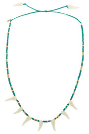 Turquoise, gold-plated and resin necklace