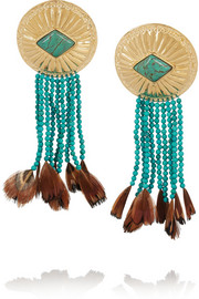 Gold-plated, turquoise and feather earrings