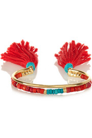 Sioux gold-plated, turquoise and coral bracelet