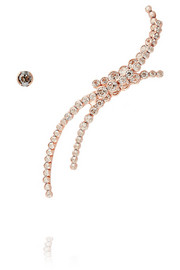Triple Line rose gold-plated Swarovski crystal cuff and stud earring