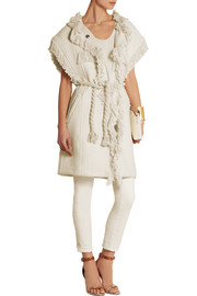 Fringed cotton and linen-blend jacket