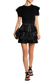 Jeneth pleated leather mini skirt