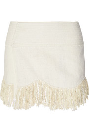 Natacha fringed woven silk wrap mini skirt