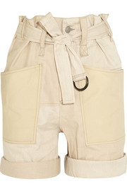 Verna stretch cotton and linen-blend shorts