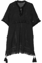 Telima fringed open-knit mini dress