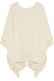 Fringed woven silk poncho