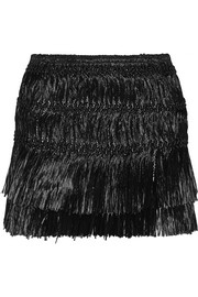 Isabel Marant Copal fringed faux raffia mini skirt