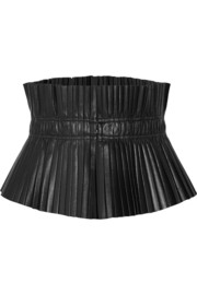 Jeanne plissé-leather waist belt