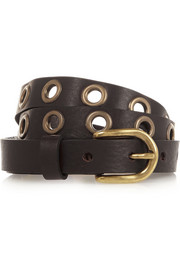 Lex eyelet-embellished textured-leather belt