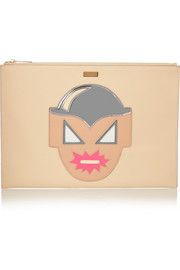 Superhero appliquéd faux leather clutch
