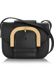 Buckled faux leather shoulder bag