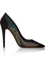 Miami Vice holographic suede pumps