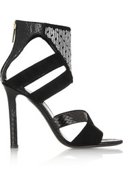 Tamara Mellon Talisman embellished suede and elaphe sandals