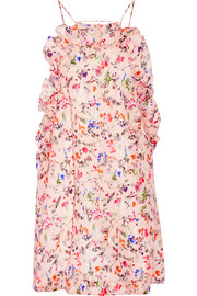 Floral-print woven silk mini dress