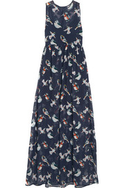 MSGM Printed silk-chiffon maxi dress