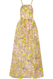 Printed silk-gazar maxi dress