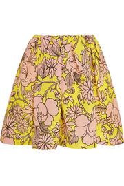 Floral-print textured-silk mini skirt