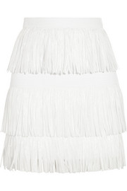 Fringed woven mini skirt