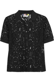 Guipure lace polo shirt