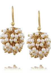 Pom Pom gold-tone pearl earrings