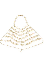 Rosantica L'Imperatrice gold-dipped freshwater pearl body chain