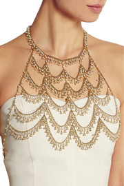 L'Imperatrice gold-dipped freshwater pearl body chain