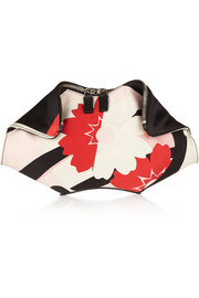 Alexander McQueen The De Manta printed silk-satin clutch