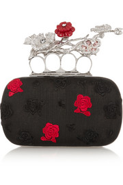 Short Knuckle embroidered voile box clutch