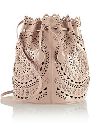 Laser-cut studded leather shoulder bag