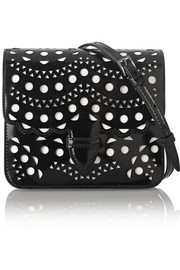 Laser-cut patent-leather shoulder bag