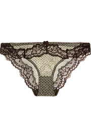 Stella McCartney Anna Printing lace-trimmed mesh briefs