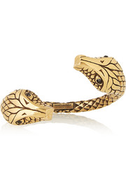 Saint Laurent Gold-plated crystal snake cuff