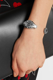Saint Laurent Silver-tone crystal snake cuff