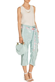 Cropped lamé pants