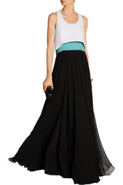 Convertible beaded silk-chiffon and crepe gown